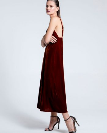 Our model in the Velvet Kiss Midi Dress Cinnamon Shade
