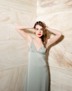 Our model in the Josephine de Beauharnais Slip Dress in a Peanut shade from the front