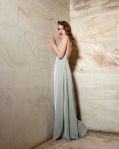 Our model in the Josephine de Beauharnais Slip Dress in a Peanut shade from the side