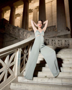 Our model in the Katharine Clifton Cut-out Jumpsuit, in the Peanut shade from the front