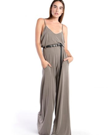 Our Model in the Izolde Jumpsuit in the Grey Shade Front